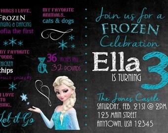 Frozen Elsa Chalkboard Birthday Party Digital Invitation Design