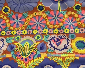 2 yds.  Kaffe's Artisan collection - Embroidered Flower Border in blue