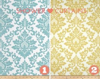Fabric Shower Curtain - Bathroom Decor Cecilia Blue or Safron Yellow Premier Prints Fabric 72 x 72 Average Size or Choose Custom Size