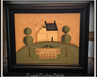 Primitive 8x10 Framed Canvas-Saltbox House-Penny Rug-Welcome Home Decor Picture