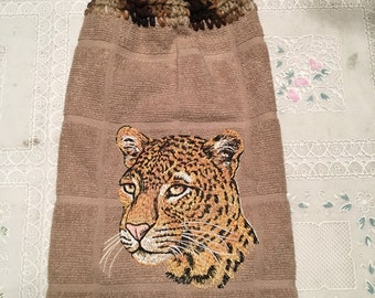 LEOPARD EMBROIDERED Kitchen Hand Towel