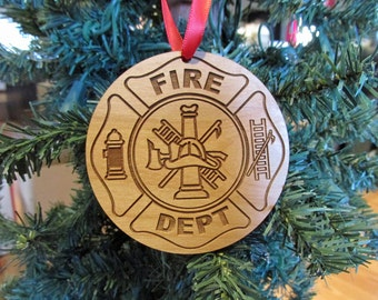 Fireman Wooden Christmas Ornament - Fire and Rescue Christmas Gift - Personalized Wood Firefighter Ornament