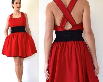 JANUARY SALE / 20% off Vintage 90s Ladies Choice Red Wool Blend Mini Dress with Velvet Waistband and Criss Cross Back (size medium)