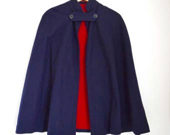 Vintage 40s WWII Bruck's Nurses' Apparel Navy Blue Wool Cape with Bright Red Lining