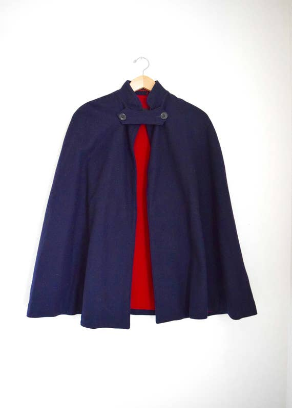 SPRING SALE/ 20% off Vintage 40s WWII Bruck's Nurses' Apparel Navy Blue Wool Cape with Bright Red Lining