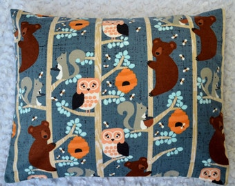 The Perfect Toddler Pillow ... Woodland Forest Animals in Trees on Blue Gray Flannel, owls, bears, bees  ... Original Design by Sew Cinnamon