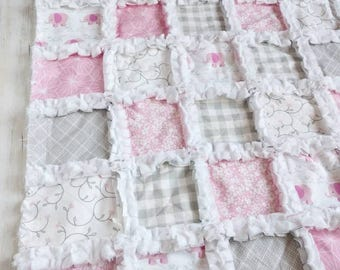 Personalized Elephant Minky Rag Quilt – Baby Girl Toddler Quilt –Elephant Bedding – Pink, Gray, Elephant– Crib Blanket - Crib Quilt