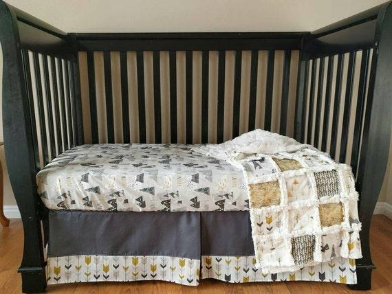 Mountain woodland crib set for baby boy mountain nursery for Mountain crib bedding