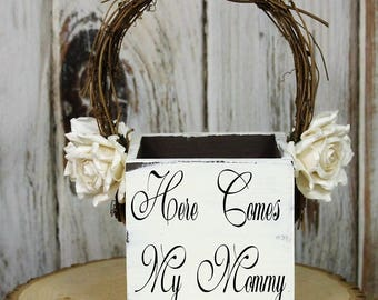 Flower Girl Basket, Here Comes My Mommy Wedding Decor, Rustic Wedding, Shabby Chic Wedding Basket, White-Barn-Paper Flowers