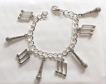 Karaoke musical note and microphone handmade silver tone charm bracelet 19-21cm other lengths available