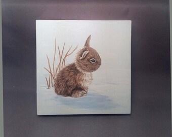 Original Snow Bunny Painting Acrylic 4 x 4