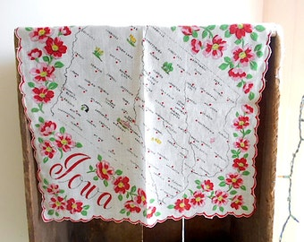 IOWA state map souvenir handkerchief hanky - Franshaw 1950s