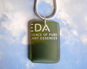 AVEDA EDA Logo Upcycled Green Glass Necklace Made from a Very Rare Glass Botanical Kinetics Bottle Recycled into Jewelry