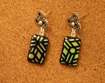 Dichroic Earrings - Fused Glass Earrings - Post Earrings - Dichroic Jewelry - Fused Glass Jewelry - Glass Earrings - Green Earrings