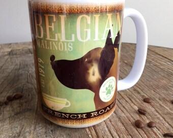 Belgian Malinois dog Coffee company graphic art MUG 15 oz ceramic coffee mug