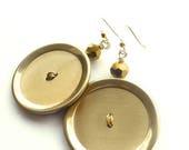 Summer Sale BIG Bold Brass Gold Button Earrings
