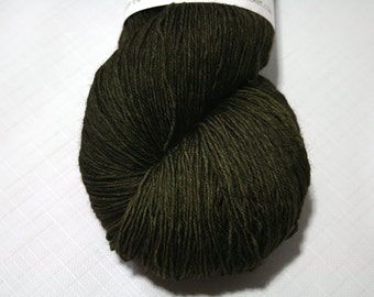 Hand Dyed Artisan Yarn, Tonal Kettle Dyed Heavy Lace, Semisolid SW Merino Wool Sock Yarn, Bitter Olive #101316, Long Stride Sock (750yds)