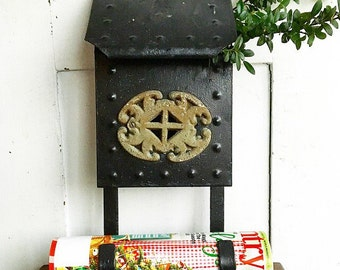 Signed, Sealed, Delivered... Vintage Wrought Iron Cast Iron Cottage Wall Mount Mailbox with Magazine Newspaper Hooks Holder