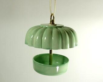 Hanging Ceramic Covered Bird Feeder Mint Green