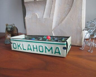 Oklahoma License Plate Box - Vintage Treasure Tray - Planter - FREE SHIPPING - Rustic Gift Box - Storage Box - Repurposed Box - Upcycled Box