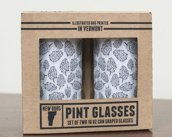 Pint Glass Set Hops design