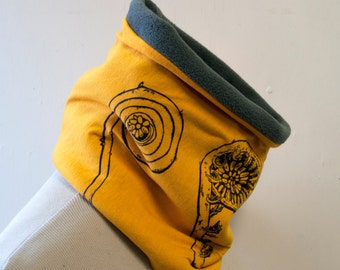 Fiddlehead screenprinted neckwarmer fleece cowl yellow
