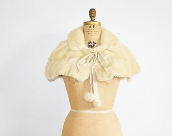 Mink stole wedding fur capelet  with pompoms