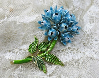 Vintage Large Enamel Flower Cluster Brooch, Pin ... Blue Floral Ball, Buds, Green Stem, Leaves, Dimensional  ... 1950s-1960s Costume Jewelry