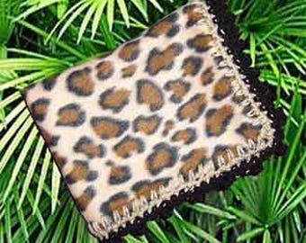 Fleece Binkie with Crochet Edge, Fun Leopard