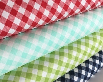 Plaid fabric, Gingham fabric, Gingham Women's Dress Fabric, Gingham Dress 50's, Bonnie and Camille, Fabric Bundle of 4- Choose the cuts