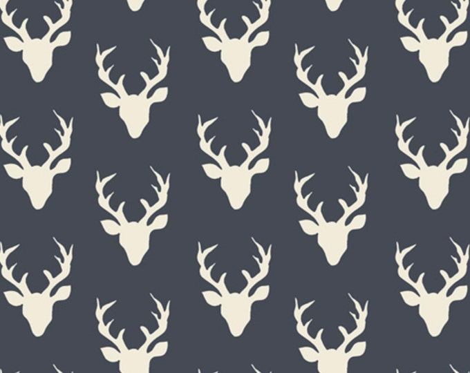 NEW MINI Buck Forest in Navy, Woodland Baby Quilt, Deer fabric, Hello Bear fabric, Small Deer fabric, Navy Deer fabric, You choose the cut