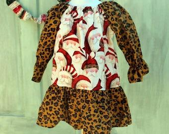 Santa and Leopard Print Peasant Dress.  Ready to Ship