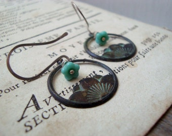 Green Lotus Earrings With Green Blossoms Hand Painted Sterling Nature Inspired Flower Jewelry Boho Chic Zen Bohemian Gifts Under 30