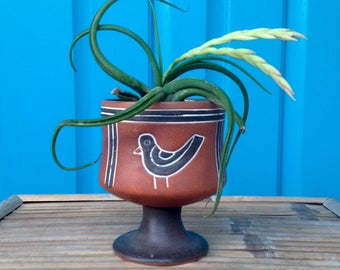FREE SHIPPING-Vintage Mexico Pottery Chalice-Ceramic Bird Goblet-Clay & Brown-Earthy-Tribal-Ethnic Decor-Bohemian-Folk Art Pottery