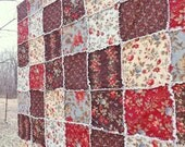Rag Lap Quilt - brown, red, blue - Moda Floral Fabrics - Gift For Her - Wedding Gift - Extra Large Lap Quilt
