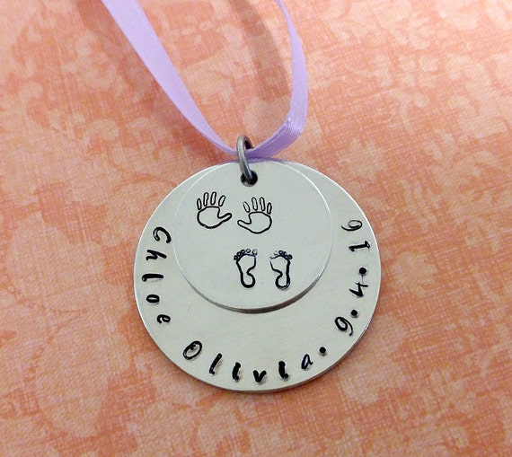 Personalized Hand Stamped Baby's First Christmas Ornament