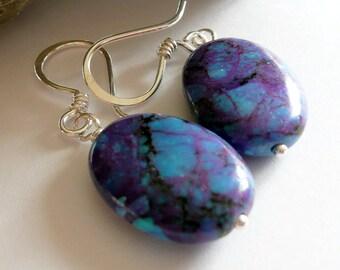 Artisan Purple Kingman Turquoise Sterling Silver OOAK Southwestern Western Cowgirl Minimalist Boho Hippie Gift for Her Earrings
