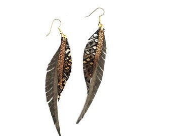 Leather Feather Earrings - grey and sparkly bronze