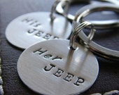 Valentines Day Sale - Custom Mini Keychain Set - Personalized Hand Stamped Sterling Silver - His Jeep Her Jeep Mini Key Chain Set