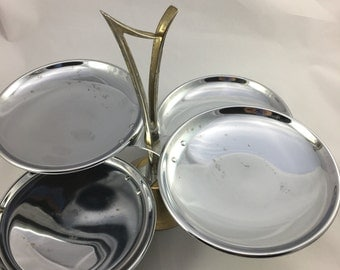 Vintage Chrome Mid Century two tiered four tray serving tray swivel