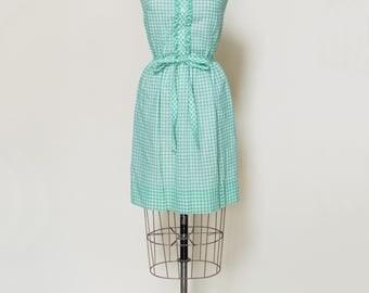 1960s Day Dress --- Vintage Green Gingham Dress