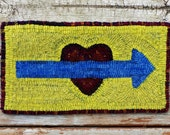 Primitive Rug Hooking Heart and Arrow Mat - Hand Hooked Wool Rug (Free Shipping)