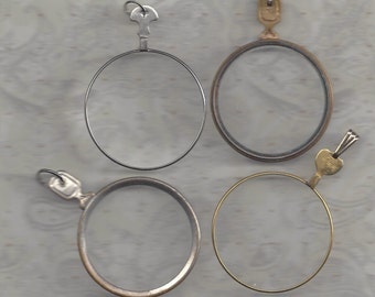 Vintage optical lenses with bail hooks and jump rings.. make your own