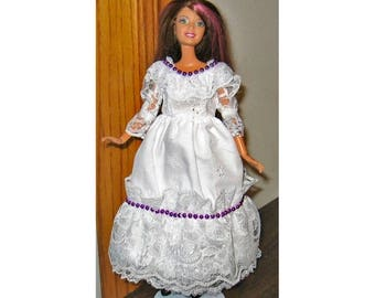 ON SALE Barbie Dress White Eyelet and Lace with Purple Bead Trim