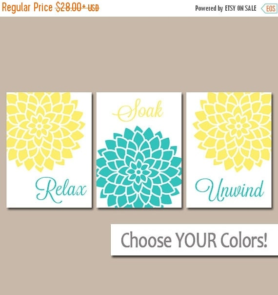 Yellow turquoise bathroom wall art canvas or prints by - Yellow and turquoise bathroom ...