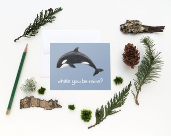 Orca Card / Washington State Card / Greeting Card / Valentine Card / Whale Card / Pacific Northwest Card / Washington / Cascadia Card / Orca