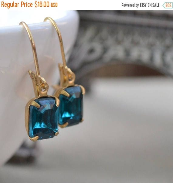 Sale 40% OFF Zircon Estate Rhinestone Lever Back Earrings, Vintage Blue Glass Rhinestone and Brass, Bridesmaids Earrings