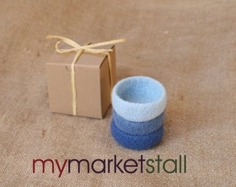Felted Stacking Mini-Bowl Set in Nordic Winter Colors/Ready to Ship/Co-Worker Gift/Hostess Gift/Gift under 15