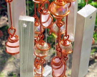 Rose Quartz Windchime with Recycled Aluminum and Copper Wrapped Iridescent Petal Pink Glass Marble Prisms, Garden Art, Love Symbol