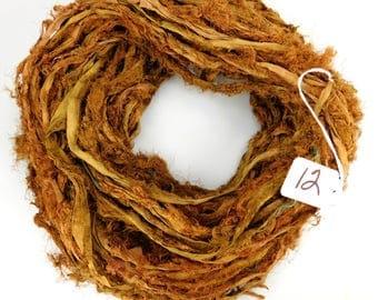 Recycled Silk Sari Ribbon, Sari ribbon, Sari silk ribbon, Fuzzy sari ribbon, Brown ribbon, Rug supply, weaving supply, fairy like ribbon